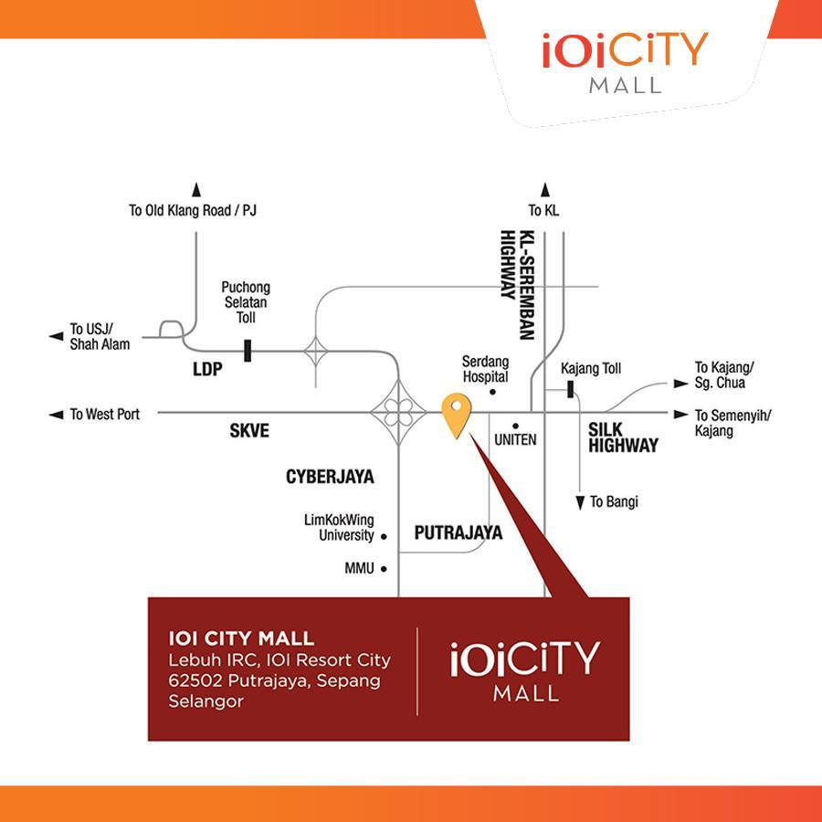 IOI City Mall Location Map - Nearby IOI Resort City