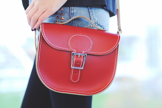 red leather bag, red lather satchel, satchel made in britain