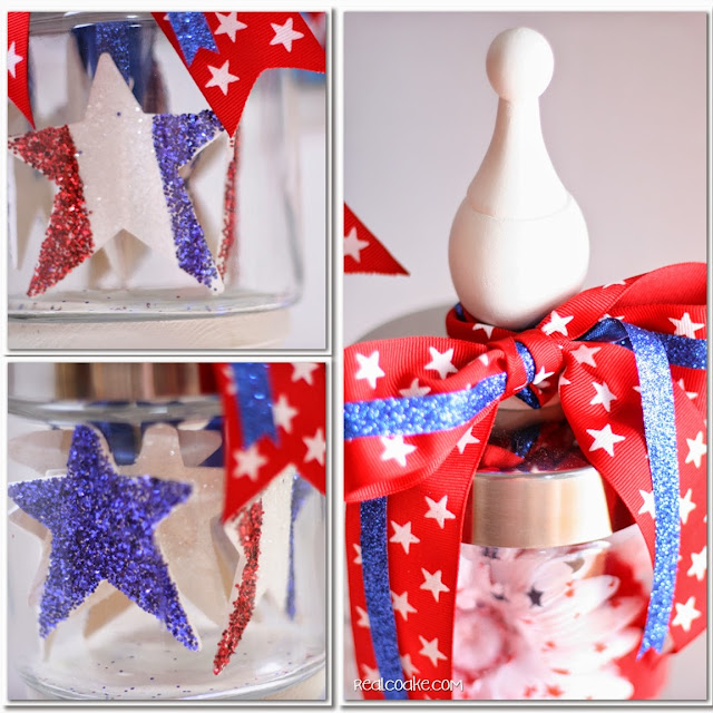 4th of July decorating idea using Apothecary Jars. #4thofJuly #ApothecaryJars #Decorating