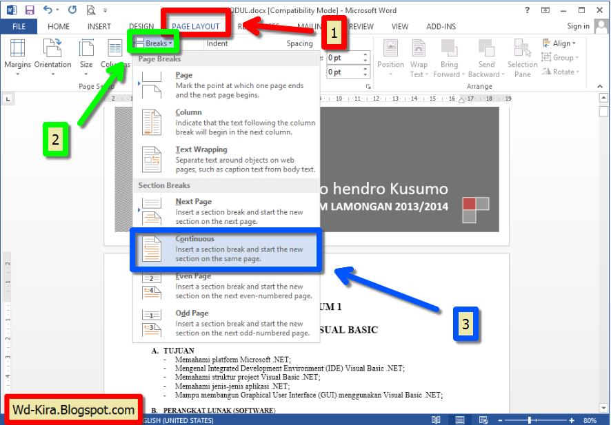 Wd-Kira, Office 2013, office 2014, Cara Membuat Orientasi Halaman Berbeda Pada Microsoft Word 2013, cara membuah halaman berbeda pada satu dokumen office versi terbaru 2014, Page break MS Office 2013, cara mengatur halaman office word, cara mengatur ukuran kertas Ms Office Word terbaru 2014