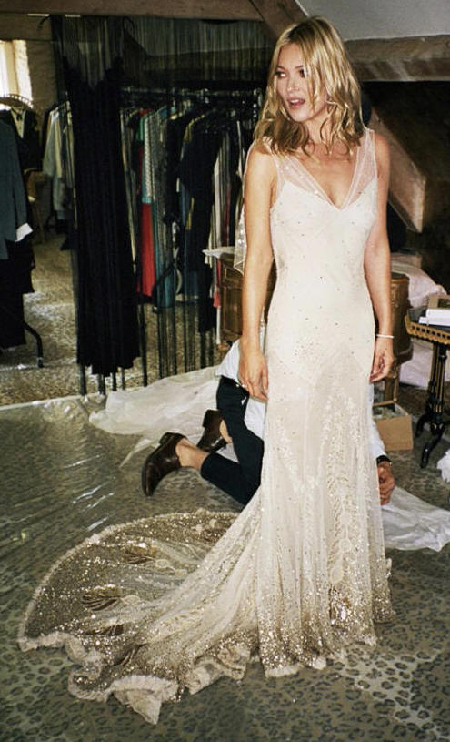 Pastel blonde kate moss 39 s wedding dress for John galliano wedding dress