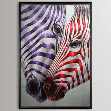 Pintura oleo enmarcada Cebras