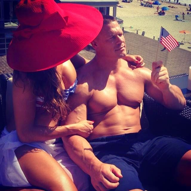Photo Of Nikki Bella With John Cena At Beach.