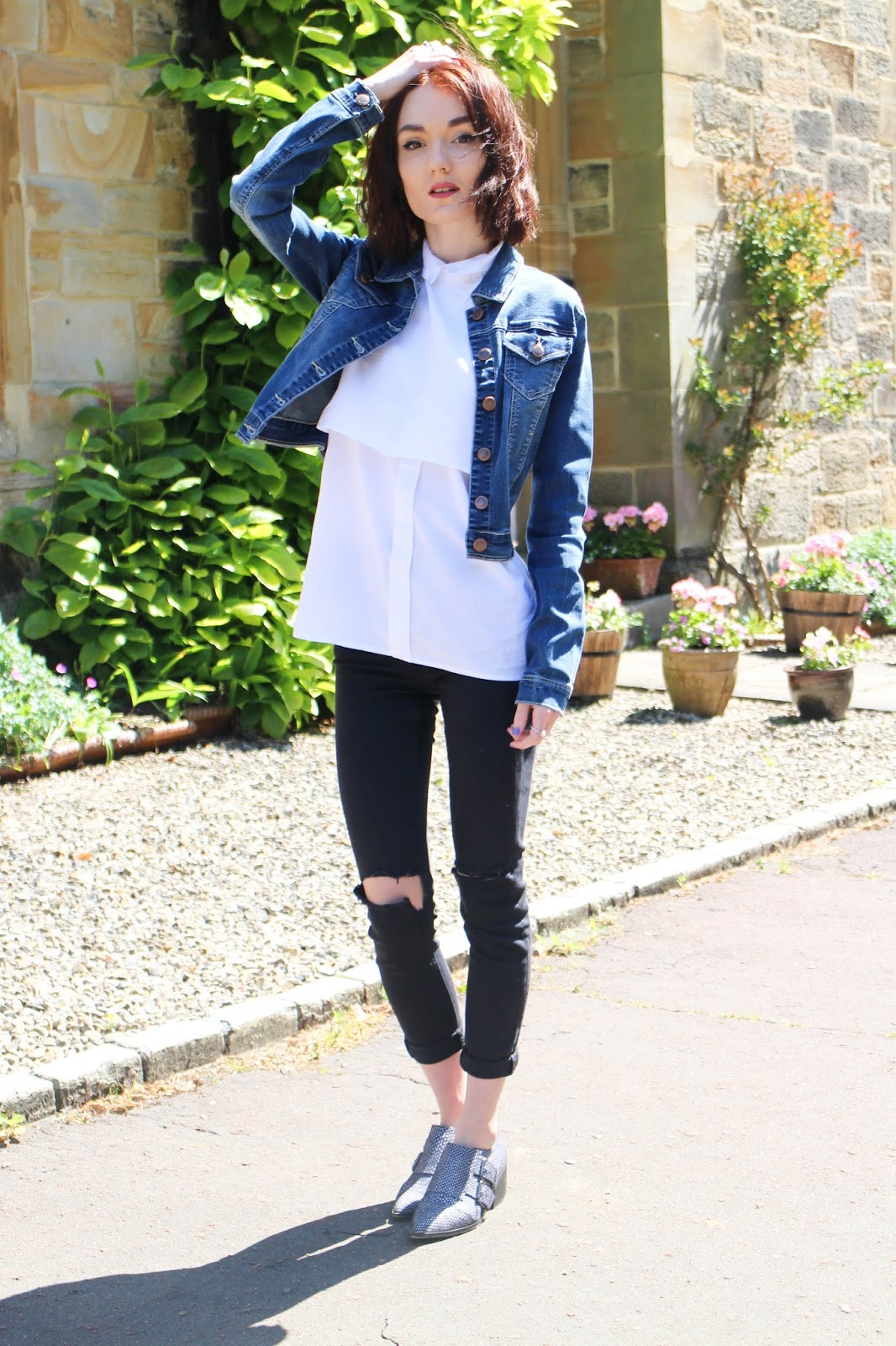3f197077e30a  URBAN BLISS MID WASH CROPPED DENIM JACKET  C O EXHIBIT   LAYERED SHIRT   RIVER ISLAND   RIPPED SKINNY JEANS  TOPSHOP   POINTED SHOES  ASOS    DUFFLE  BAG  ...