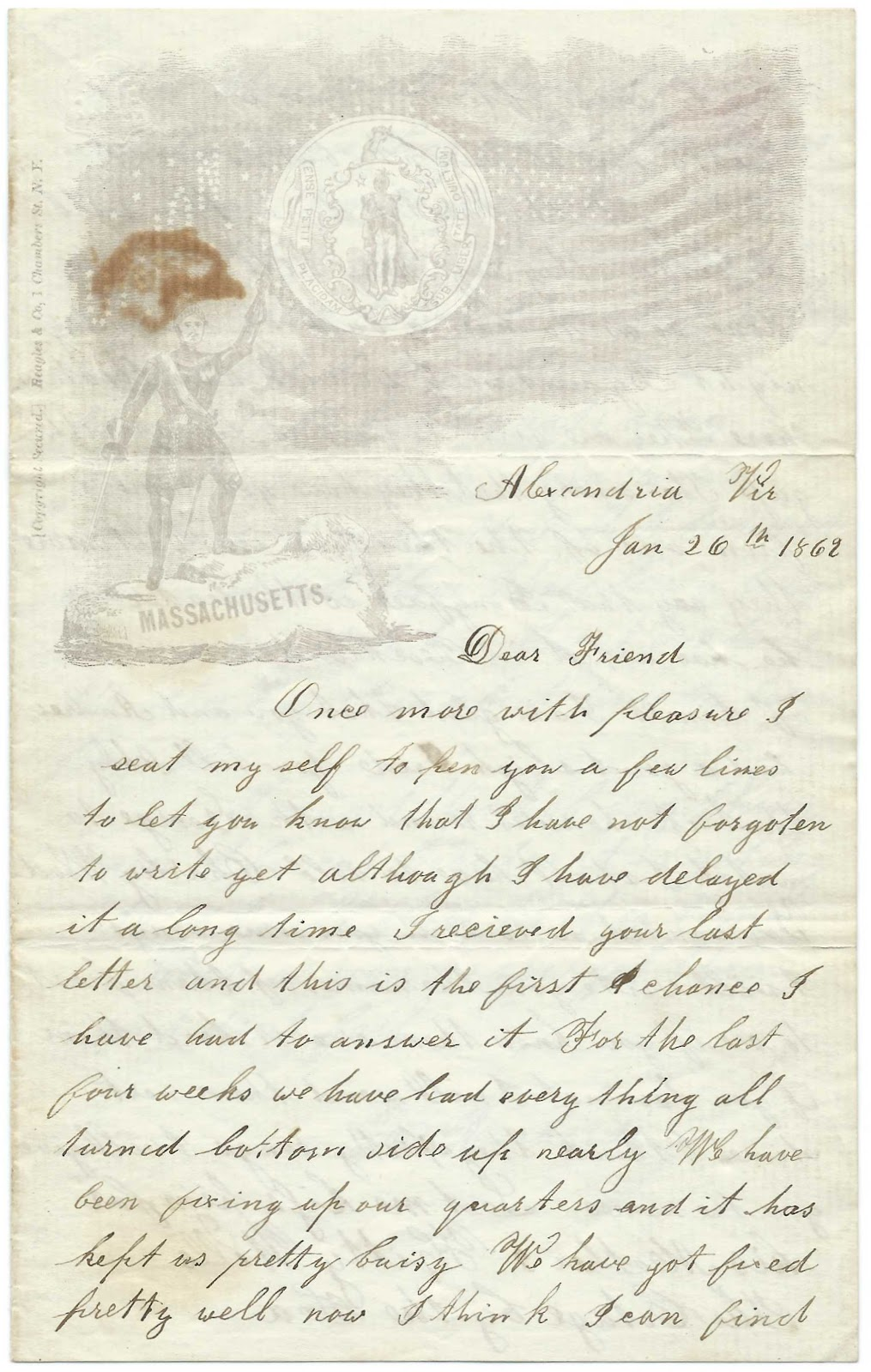 1862 letter from horatio richards of rockland maine then at 1862 letter from union soldier horatio richards of rockland maine then at alexandria virginia to friend back home aljukfo Image collections