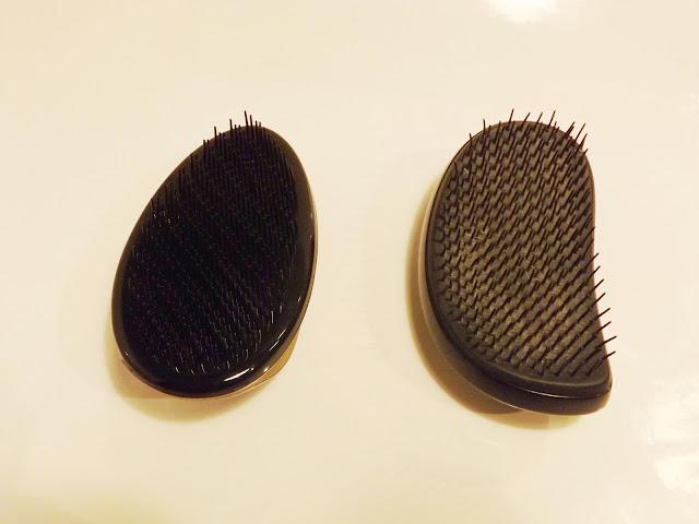 links: Entwirrkünstler, rechts Tangle Teezer, Borsten/Pins