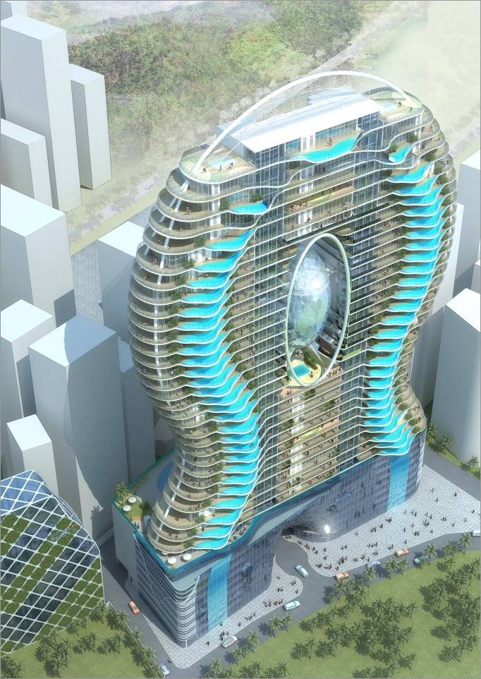 Darslam network skyscraper apartments with balcony - Swimming pool on top of skyscraper ...