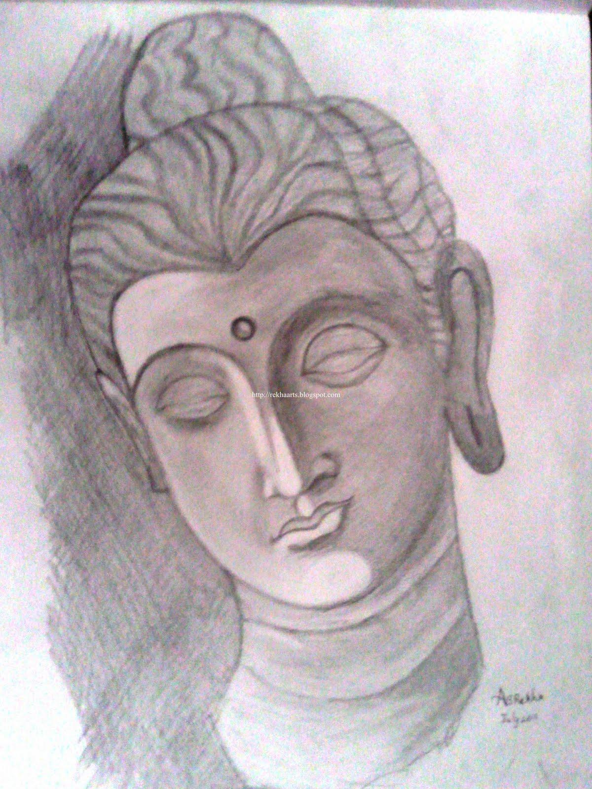 Buddha pencil sketch
