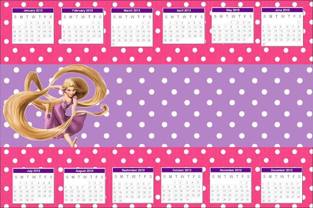 Calendario 2013 para imprimir gratis de Enredados.