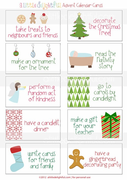 Calendar Cards Printables : The bean sprout notes top free advent activity card