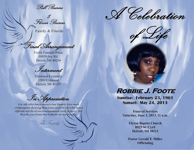 Robbie J. Foote: Obituary Front and Back Cover
