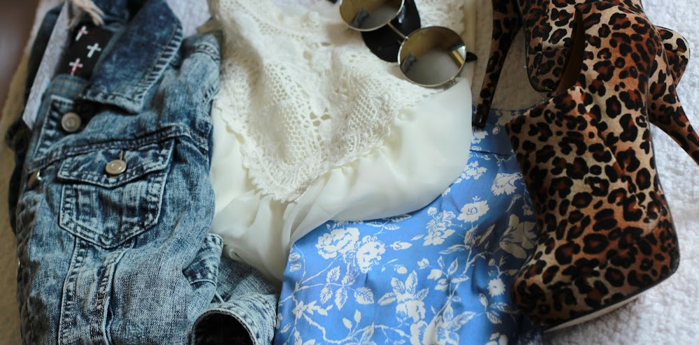 Primark denim jacket, Primark lace white vest, Primark floral blue pants, what I bought today, john lennon style sunglasses