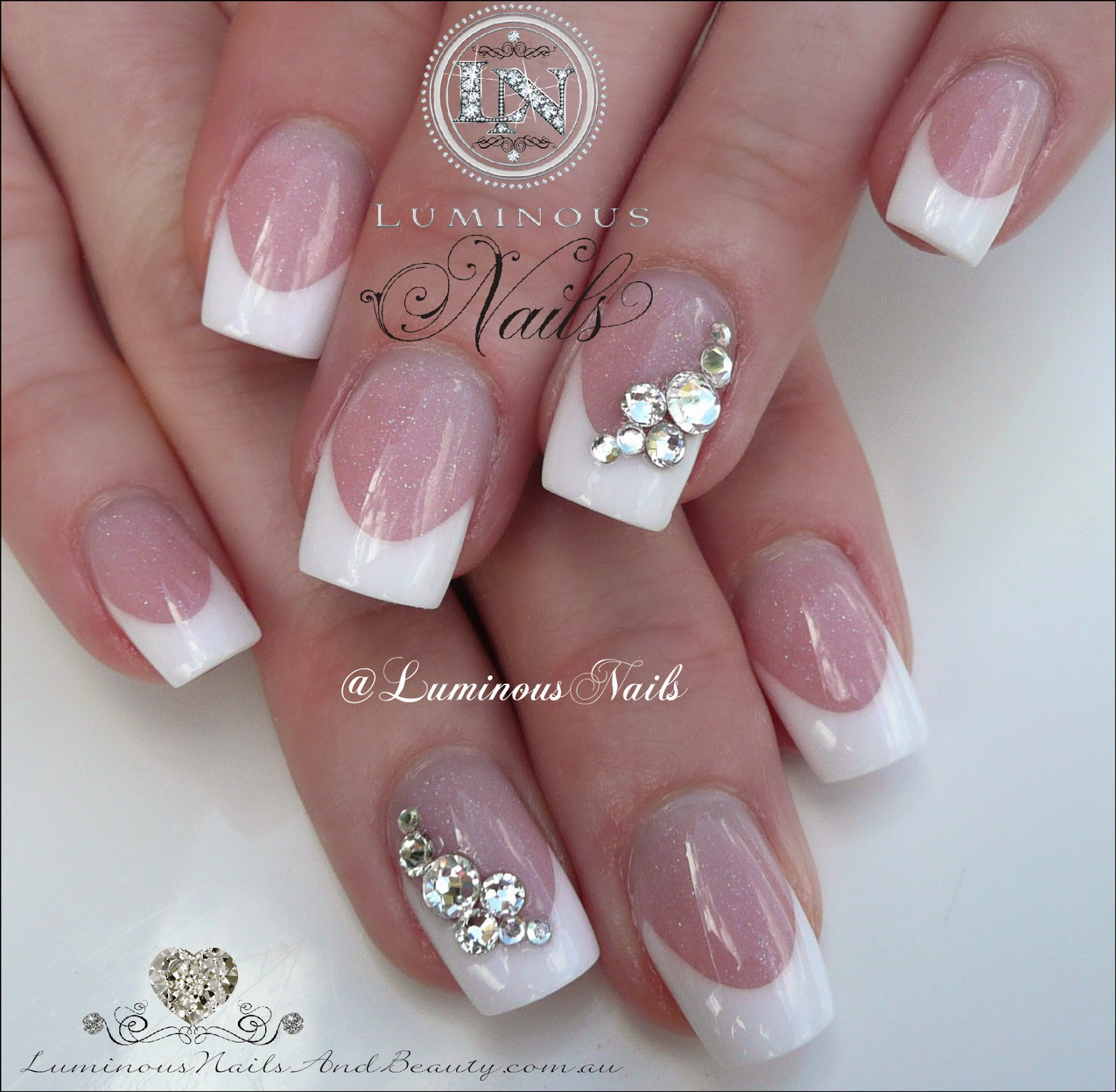 Luminous Nails Clic French Wedding With Swarovski Crystals