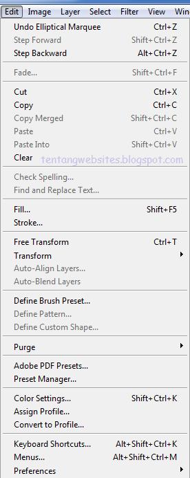 menubar Edit Photoshop