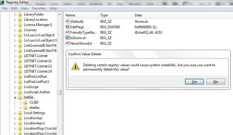 how to delete desktop shortcuts windows 7