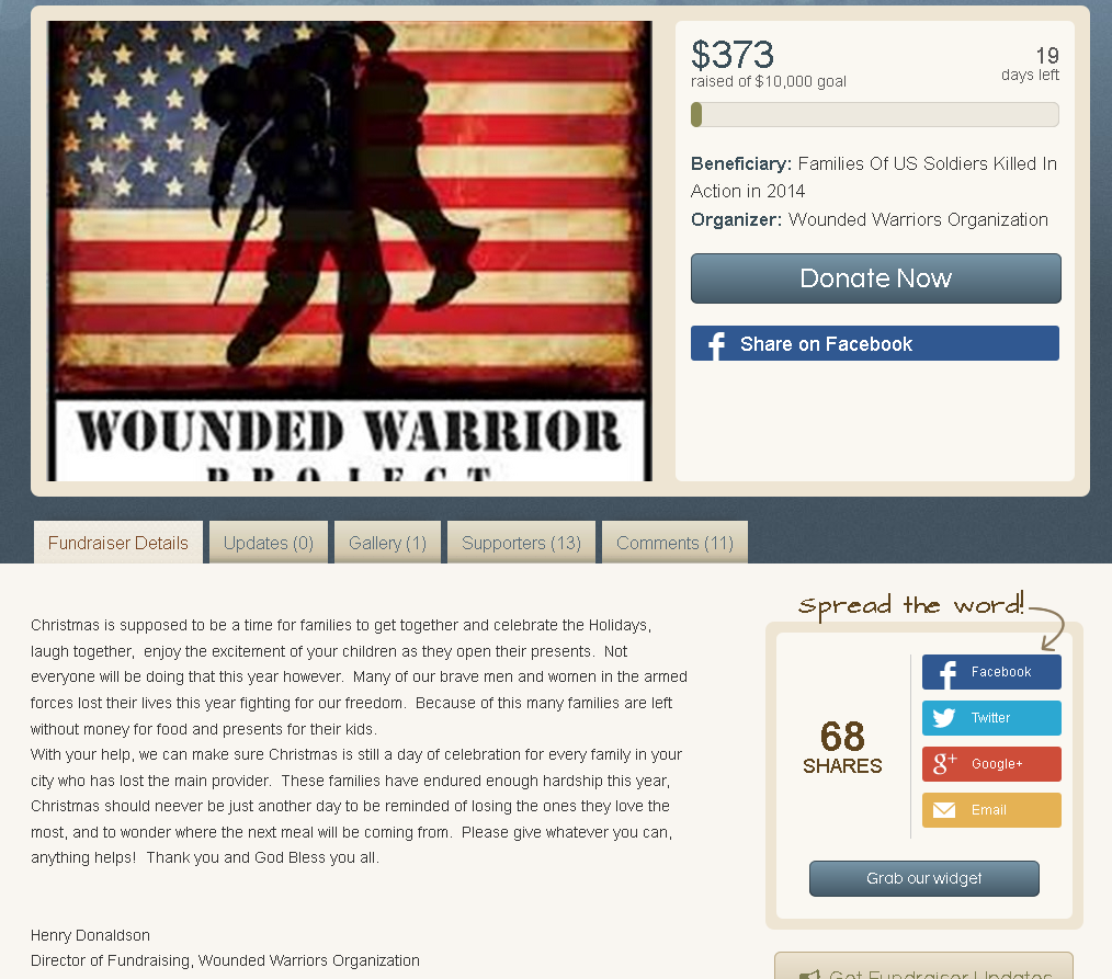 RETRO KIMMER\'S BLOG: WOUNDED WARRIORS PROJECT CHRISTMAS DONATION PAGE