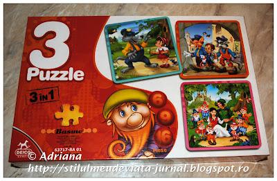 puzzle 3 in 1 cu personaje din basme