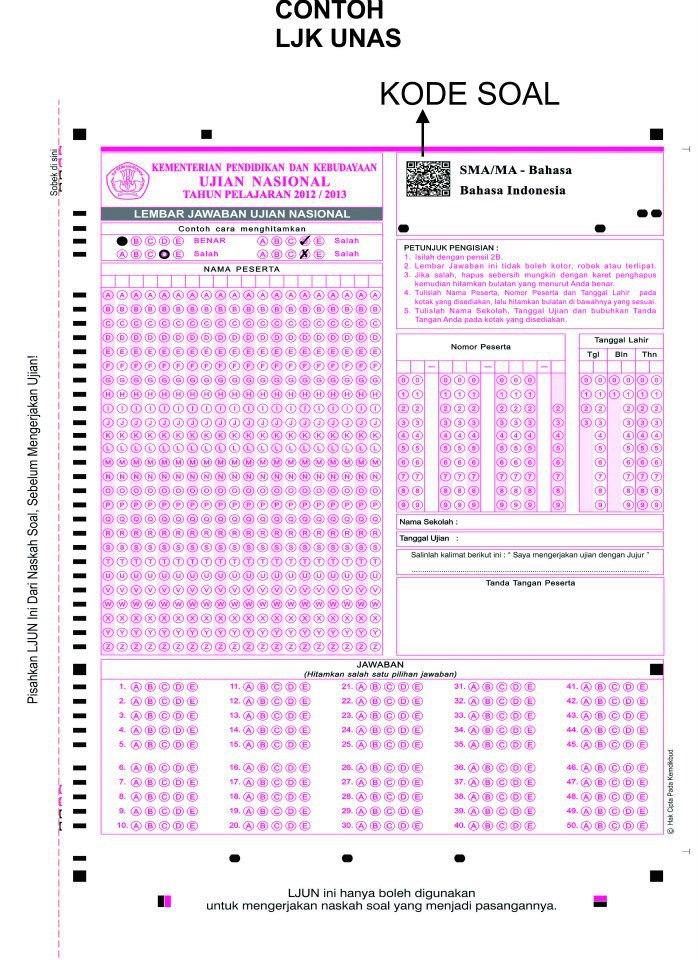 LJK Ujian Nasional 2013 Menggunakan Barcode, Jangan Harap Bisa Nyontek