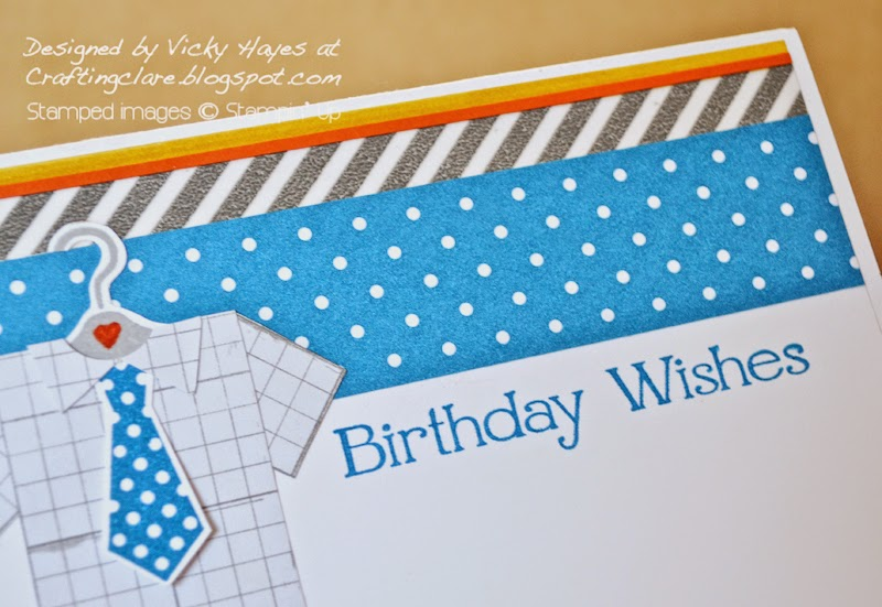 UK Stampin' Up demonstrator Vicky Hayes shows how to create a border with washi tape, marker, designer paper and card stock