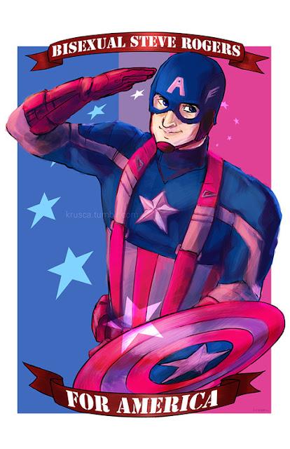 """Na imagem: Um pôster desenhado do Capitão América em posição de sentido, o fundo das cores rosa e azul da bandeira bissexual, e uma faixa em cima que diz """"Steve Rogers bissexual"""" e outra faixa embaixo que completa """"pela América"""""""