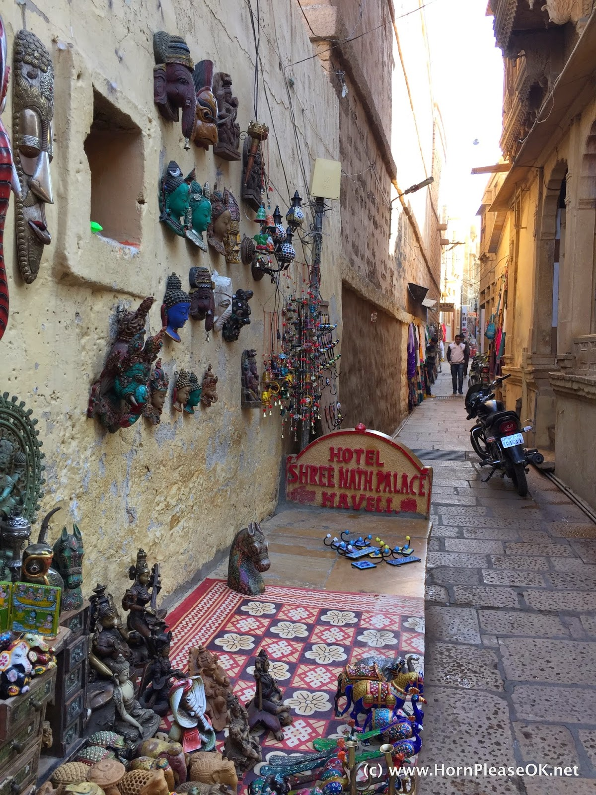 Narrow lanes selling souvenirs inside Jaisalmer Fort