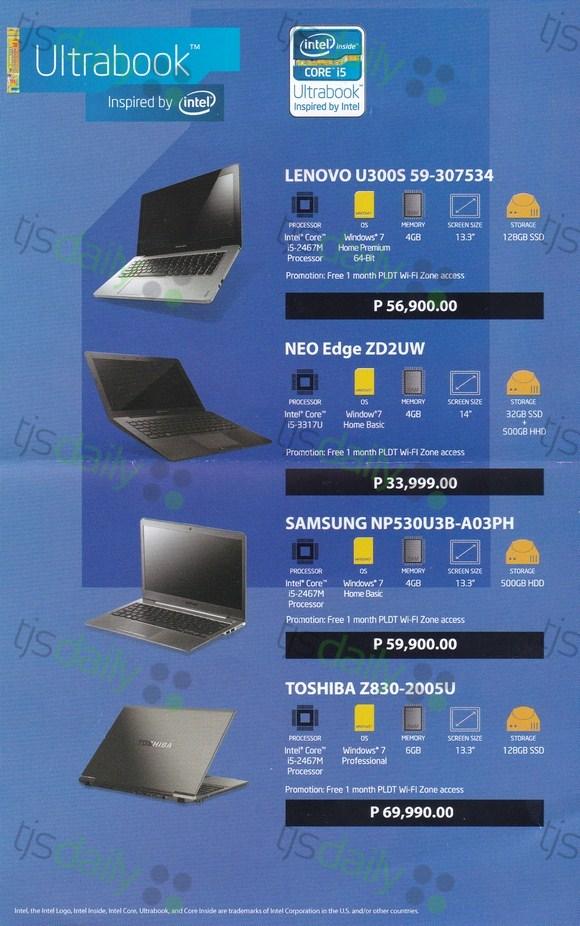 lenovo u300s neo edge samsung np530U3b toshiba z830 ultrabook price philippines