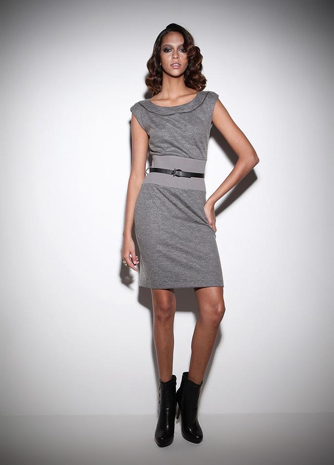 krem , kemerli elbise kolsuz model