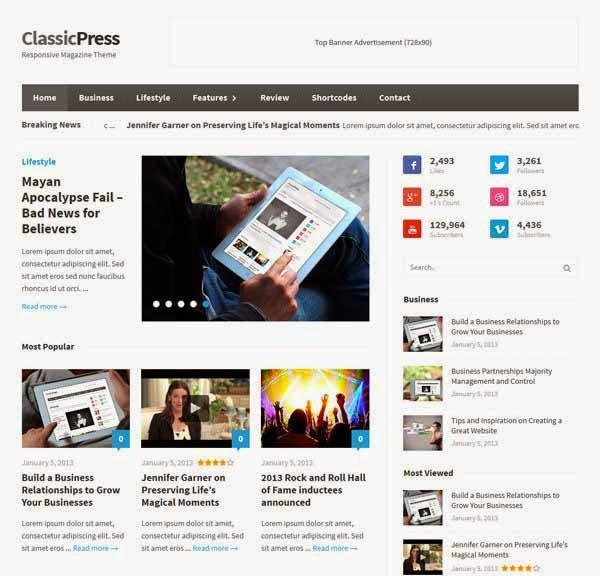 ClassicPress – Responsive Magazine WordPress Theme