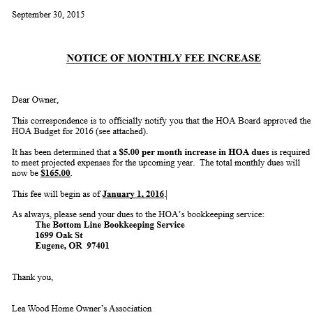 Fees Increase Letter Sample Letter