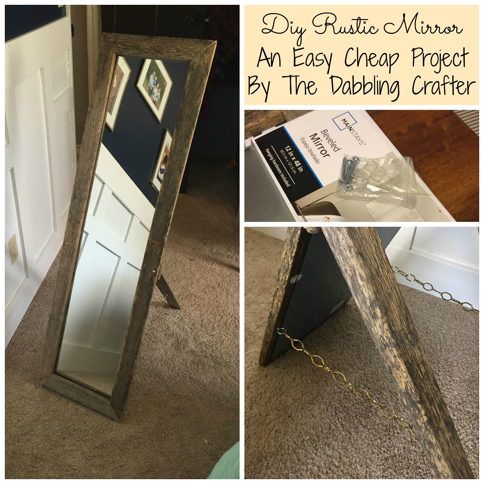 The Dabbling Crafter: DIY Sunday: Rustic Mirror Frame and Stand