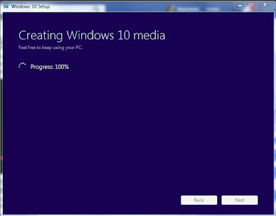 Creating Windows 10 media 100%