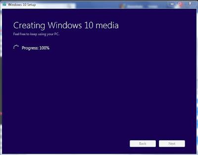 Creating Windows 10 media 100%