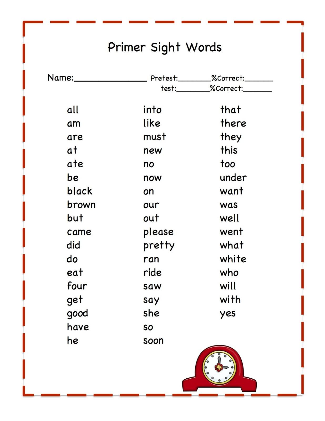word  sight kindergarten Sight Words Kindergarten printables Printable