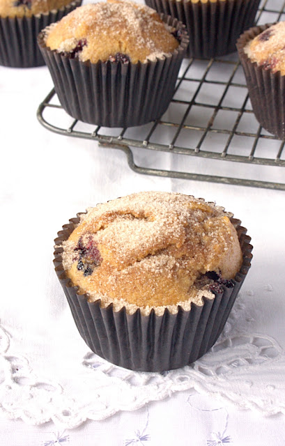 Whole Wheat Blueberry and Almond Muffins - extra delicious with a cinnamon sugar coating