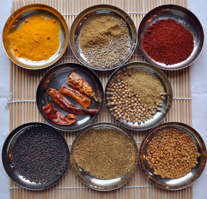basic indian spices of Turmeric, Cumin, Red Chili Powder, Dry Whole Chili, Coriander, Mustard Seeds, Garam Masala, Fenugreek Seeds