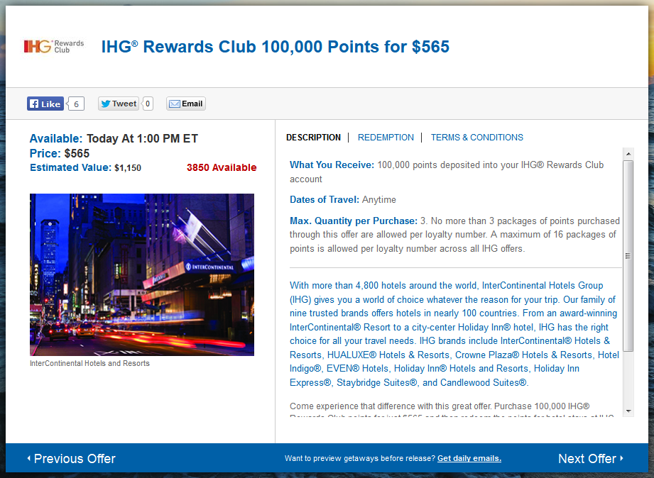 Daily Getaways - IHG Rewards Club