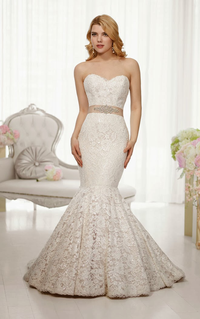 Essense Strapless Sweetheart Mermaid Lace and Satin Wedding Dress