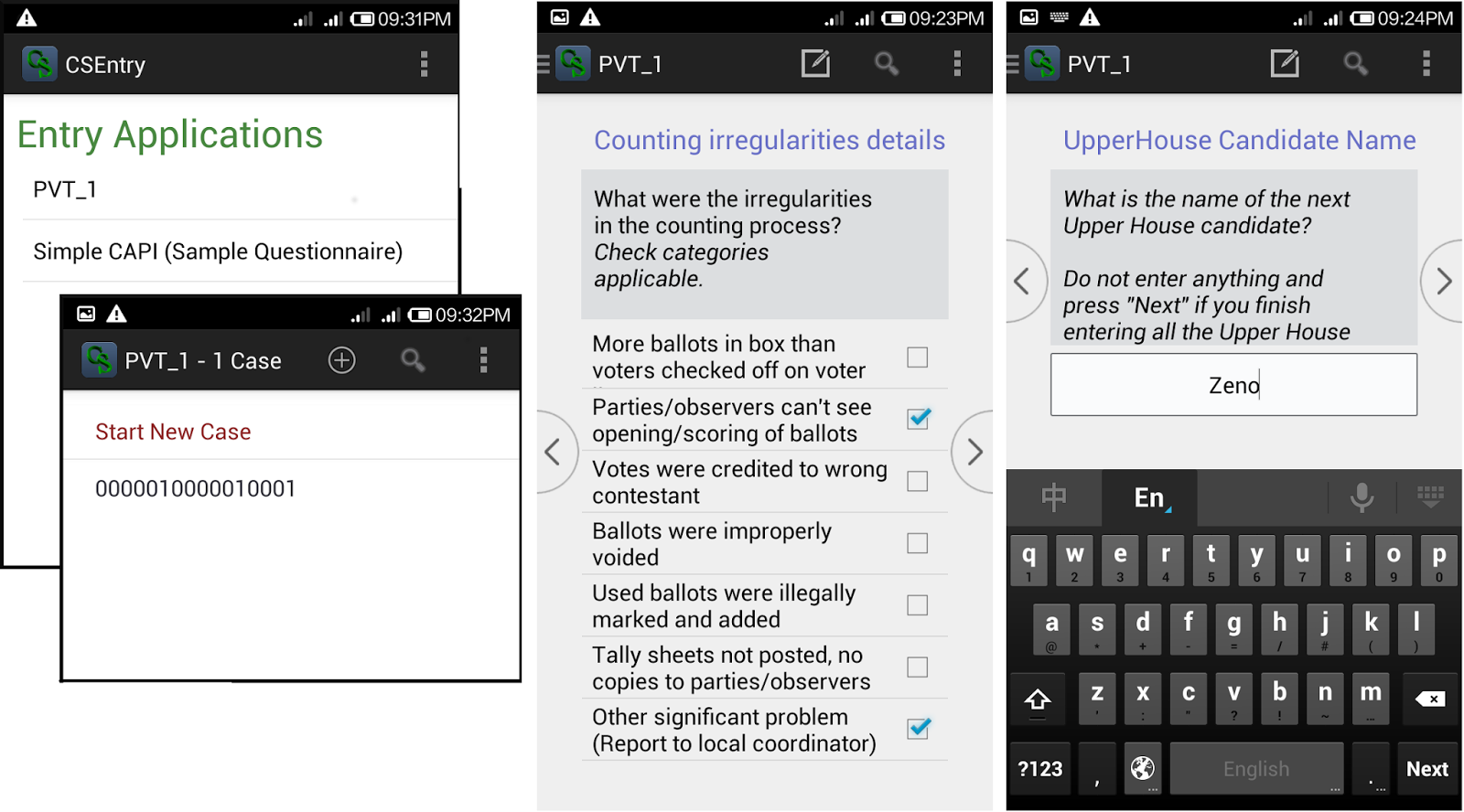 working on an android csentry application gives you some refreshing experience you don t get with the desktop application the checkbox for inputting