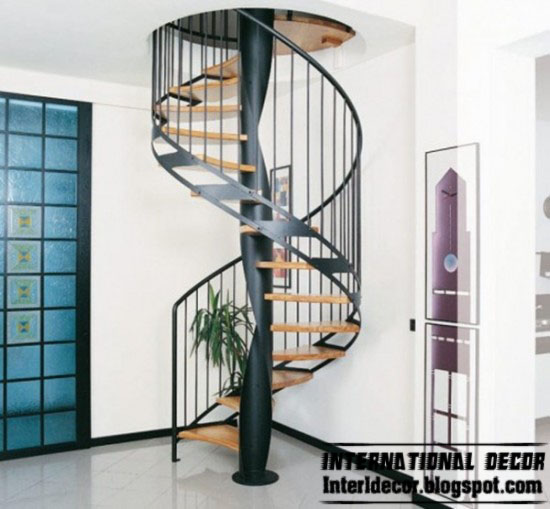 Round spiral staircase interior stairs designs Curved staircase design plans