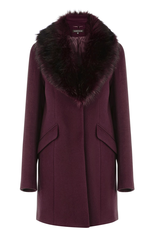 warehouse purple fur coat
