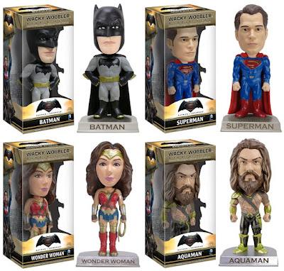 Batman v Superman Dawn of Justice Wacky Wobbler Bobble Heads by Funko - Batman, Superman, Wonder Woman & Aquaman