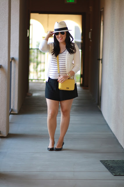 stripe, romper, loft romper, ann taylor heels, jcrew hat, panama hat, ray bans,chanel brooch,