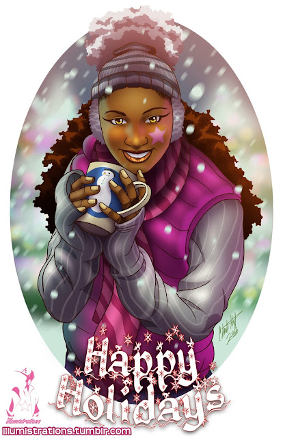art illustration black art winter wonderland snow
