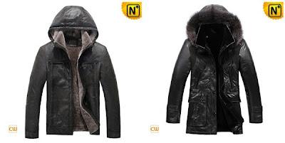 Mens Sheepskin Hooded Jacket uk