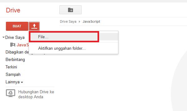 Klik File untuk Upload File di Google Drive