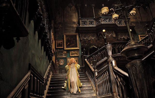 "Mia Wasikowska enters a haunted house in Guillermo del Toro's ""Crimson Peak"""