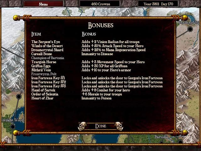Warlords Battlecry 3 - Bonus Items Description