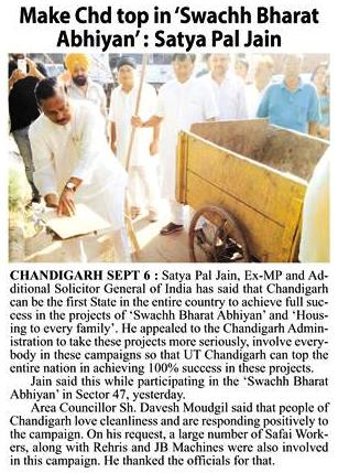 Make Chd top in 'Swachh Bharat Abhiyan' : Satya Pal Jain