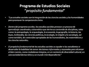 PROPÓSITO FUNDAMENTAL de los Estudios Sociales