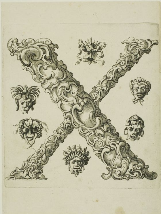 The letter 'X' - foliated design engraved in 1600s